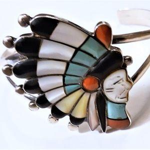 Jewelry - Vintage Zuni Tribal SS Inlaid Chief Cuff Bracelet